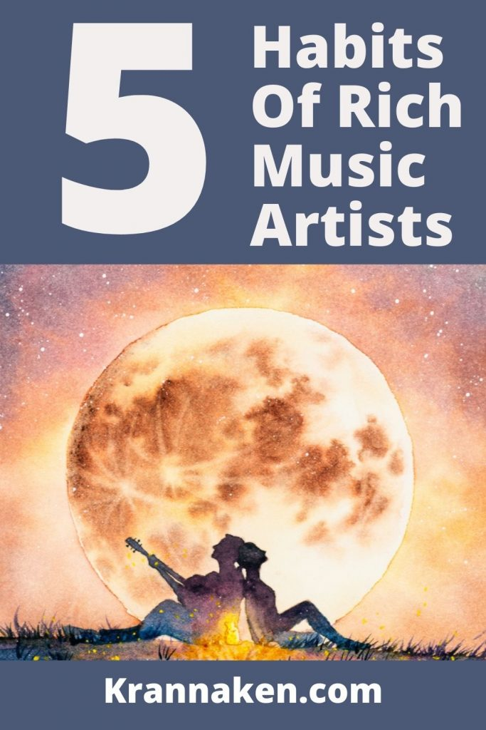 This Pinterest pin is a couple sitting back to back in the sunset and is for the secrets to musical success