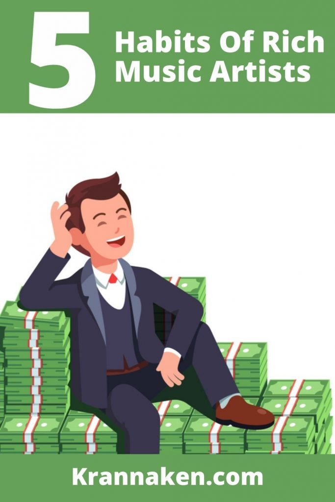 This Pinterest pin shows a cartoon image of a man sitting in tonnes of bank notes and laughing as he considers whether he should count his money this is secrets to musical success