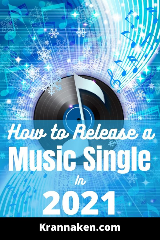 This is an image of a crochet over a record in a blue and white background.  It has the post title how to release a music single in 2021 towards the bottom of the post.
