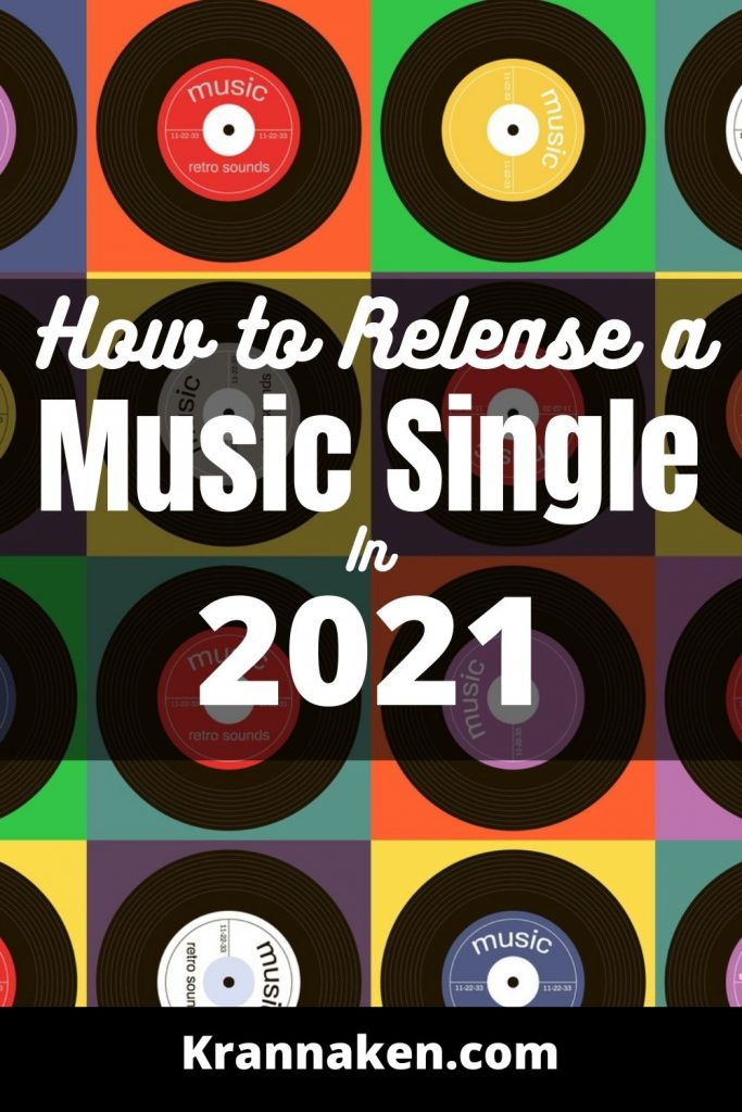 This Pinterest pin is a retro image with colourful records in the background and the title in the middle with title and a black background.