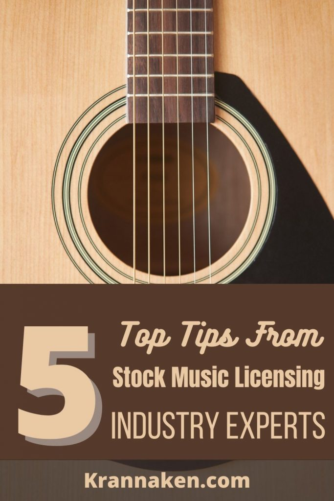 Stock music licensing with production music libraries.  This Pinterest pin is of an acoustic guitar.