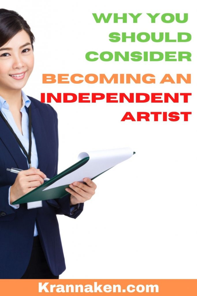 Pinterest pin reads Why You Should Consider Becoming an Independent Artist Artists Guide to Record Contracts